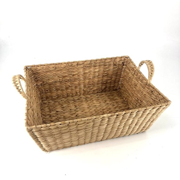 SOLD Boho Woven Storage Basket with Handles